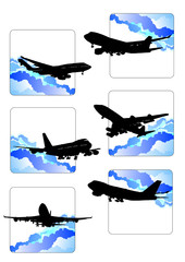 Six icons with airplane silhouettes. Vector illustration.