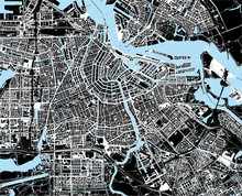 Zwart-wit amsterdam city map
