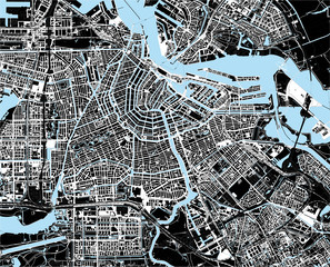 black and white amsterdam city map