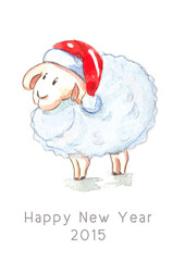 Cute sheep in Santa's hat
