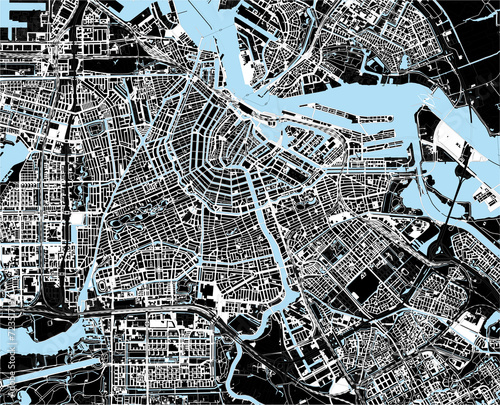 black and white amsterdam city map - 72351719