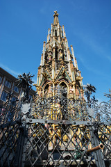 Gothic Beautiful fountain (Schoner brunnen) in Nuremberg