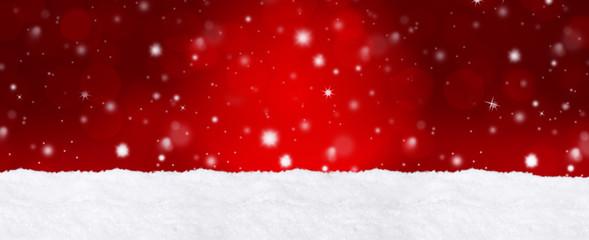Roter Bokeh Hintergrund mit Schnee / Weihnachtlich