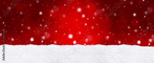 canvas print picture Roter Bokeh Hintergrund mit Schnee / Weihnachtlich