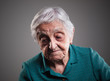 canvas print picture - Sad elderly woman