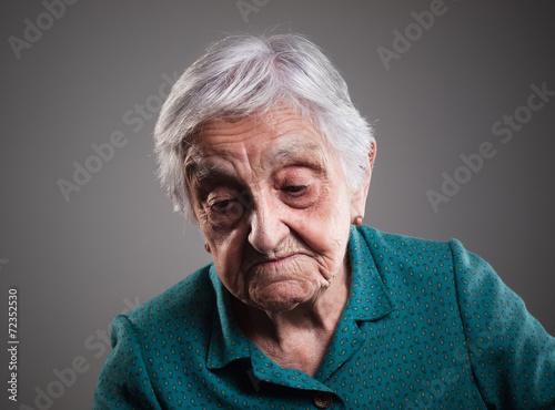 canvas print picture Sad elderly woman