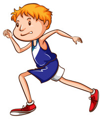 A coloured drawing of a young runner