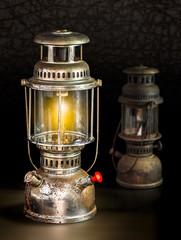 Storm lantern on dark background