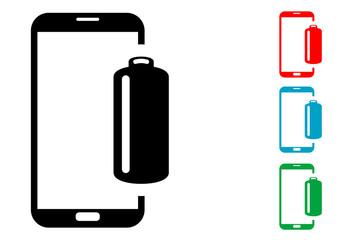 Pictograma bateria smartphone con varios colores