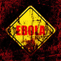 Ebola virus yellow road sign
