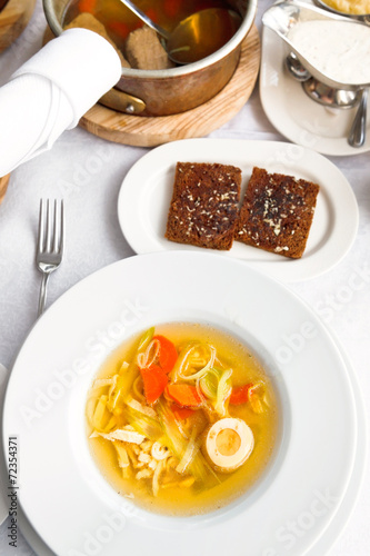 Papiers peints Assortiment top view of tafelspitz from boiled beef broth