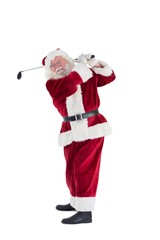 Santa Claus swings his golf club