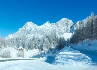 Morning winter alpine road.