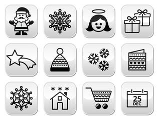 Christmas, Xmas celebrate buttons set