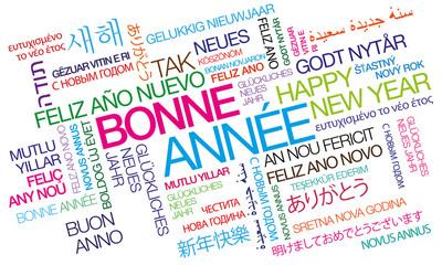 Bonne Année nuage de mots couleurs texte tag cloud