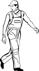 sketch of a worker in a cap and gloves coveralls