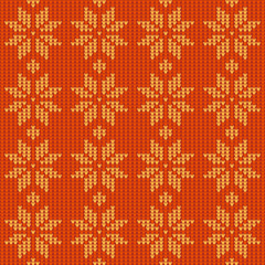 Vector seamless pattern. Knitted decoration with snowflakes.