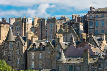 Detail of some old buildings seen in Edinburgh, Scotland