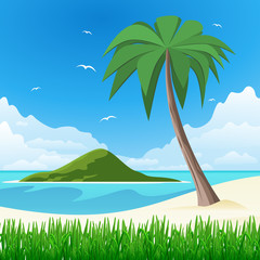 Island with palm tree on tropical white sand