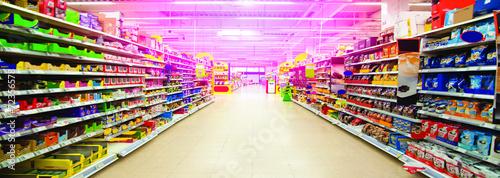 Leinwanddruck Bild Wide perspective of empty supermarket