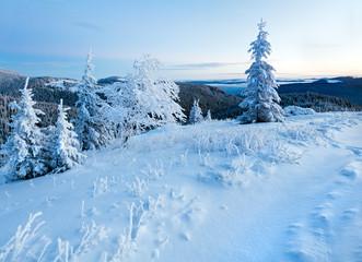 Predown winter mountain landscape