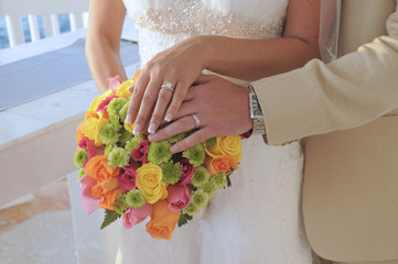 Bride and groom hands and flowers