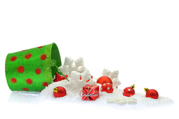 Christmas ornaments and snow coming out of a bucket
