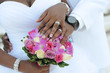 Black couple, hands and flowers - 72357787