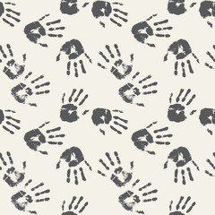 Black and white palm prints. Seamless background