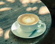 Cappuccino or latte coffee with heart shape,vintage style