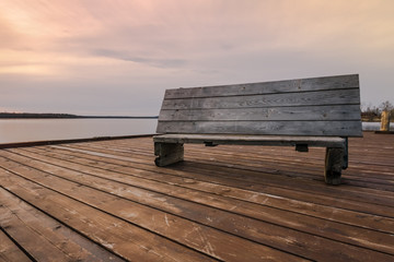 Wooden bench on the berth