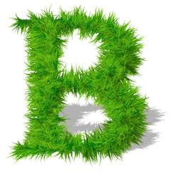 Conceptual green grass 3D font isoalted