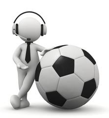 omino bianco telecronista del calcio