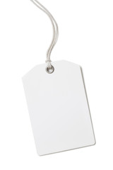 Blank paper price or gift tag isolated