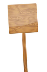 Wooden sign post on white background.