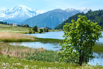 Summer mountain landscape with lake (Italy)