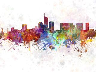 Essen skyline in watercolor background