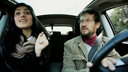 Man angry about woman singing in car