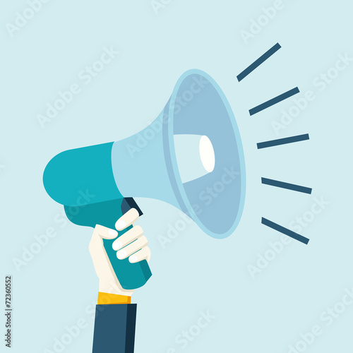 Hand holding megaphone - 72360552