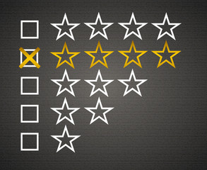 Five matted yellow web button stars ratings with reflection.
