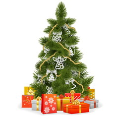 Vector Christmas Tree with Paper Decorations