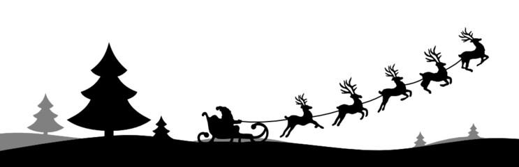 Silhouette Elch Schlitten Weihnachten