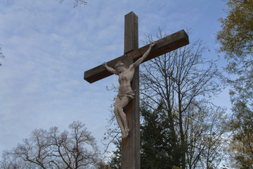 Jesus Christ on the Cross with Clouds photo