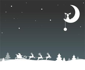 Weihnachten Schlitten Elche Mond