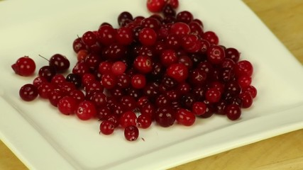 Cranberries on a white square plate