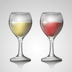 red wine glass and white wine glass on white background