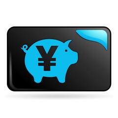 épargne yen sur bouton web rectangle bleu