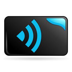 réseau sur bouton web rectangle bleu