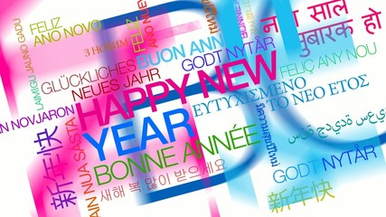 Happy New Year words text tag cloud colorful animation