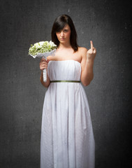 wedding rude gesture with middle finger
